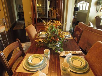 Table Set for Four in our Dining Room