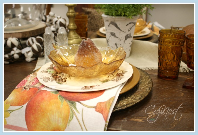place setting with sugared fruit