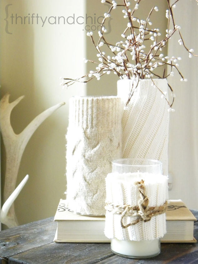 accents and decor sweater wrapped candles