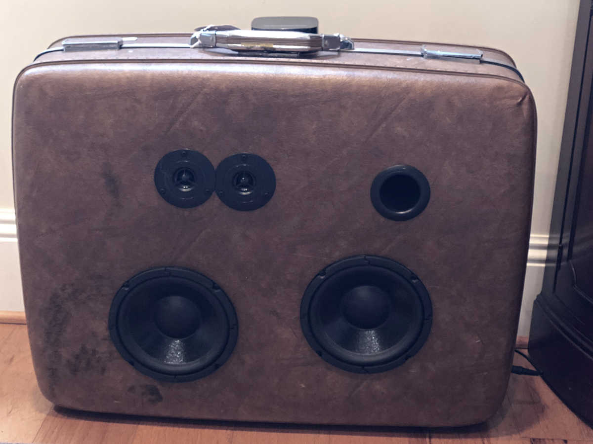 antique suitcase speaker