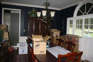 Packing up the Dining Room.