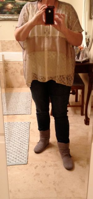 Flat Boots with Pink Tulip Top, Chico's Skinny Jeans