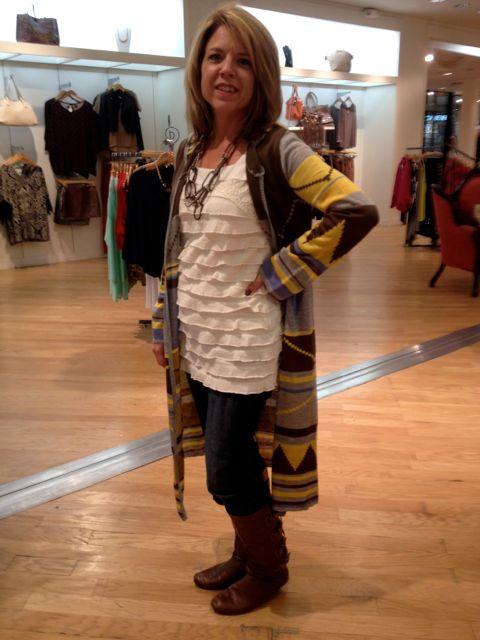 Kellie in her Aztec Cardigan