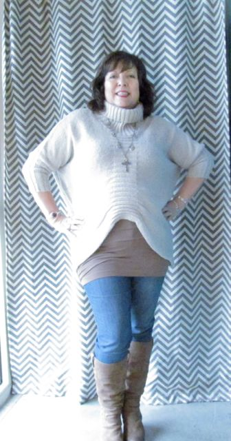 Cutaway Sweater with Peek a Boo cami.