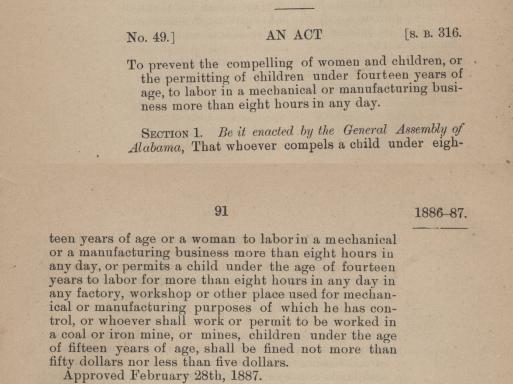 Child Labor Law of Alabama 1887