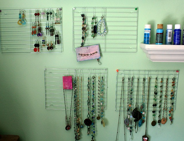 craftyhope product jewelry on wire cooling racks