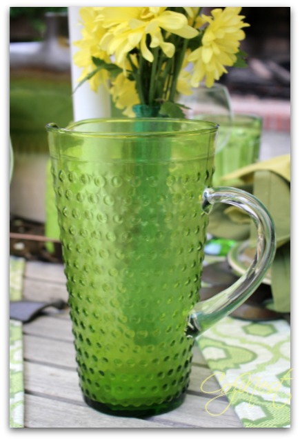 green hobnail pitcher