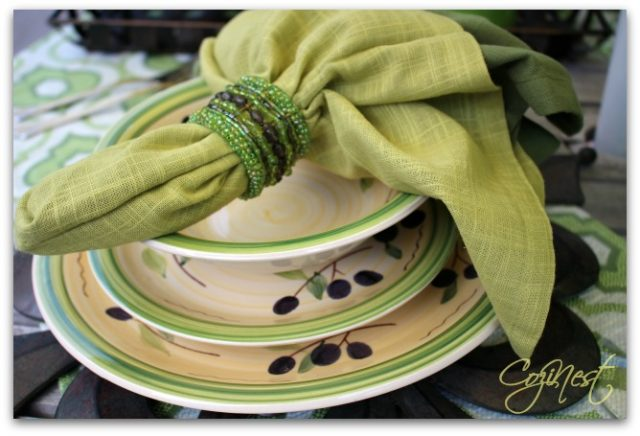 stoneware and napkins