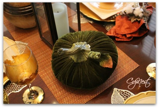 Velvet Pumpkins and Placesettings