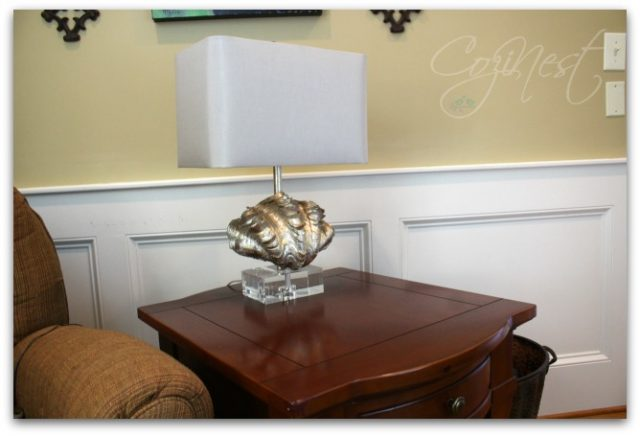 End Table with Shell Lamp