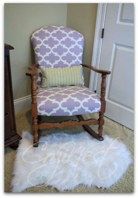 Orchid and White Antique Rocker