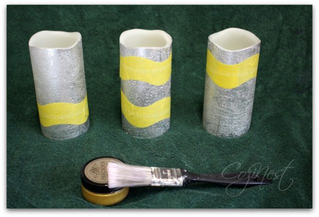 taped candles for gold leafing