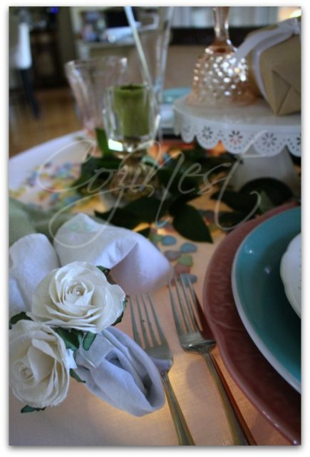 paper rose napkin rings