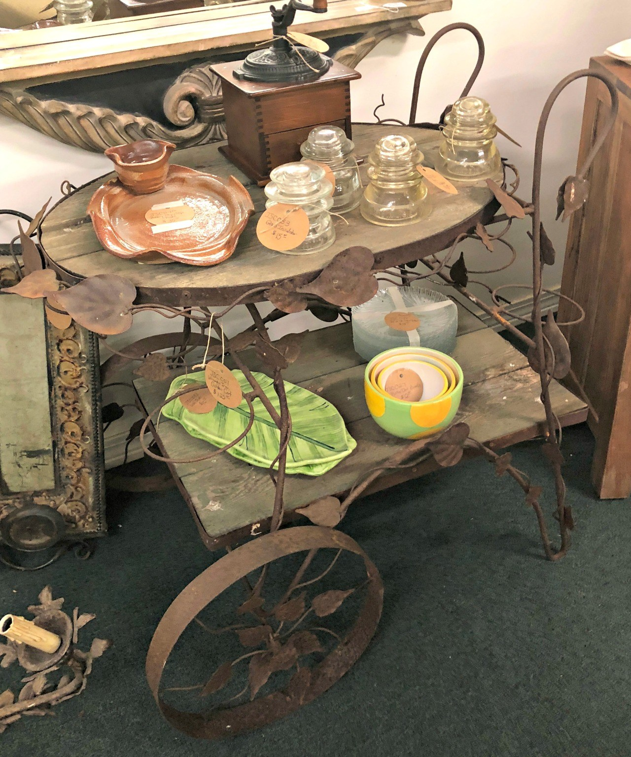 rustic tea cart