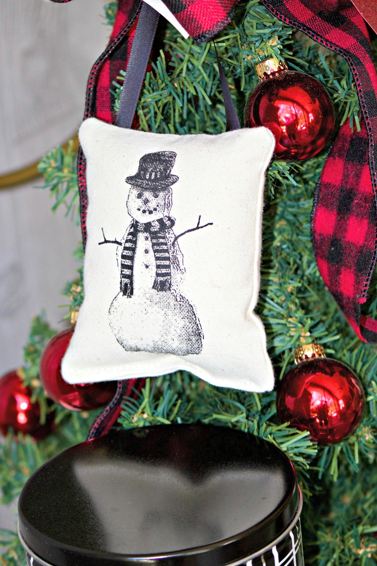 snowman pillow ornament