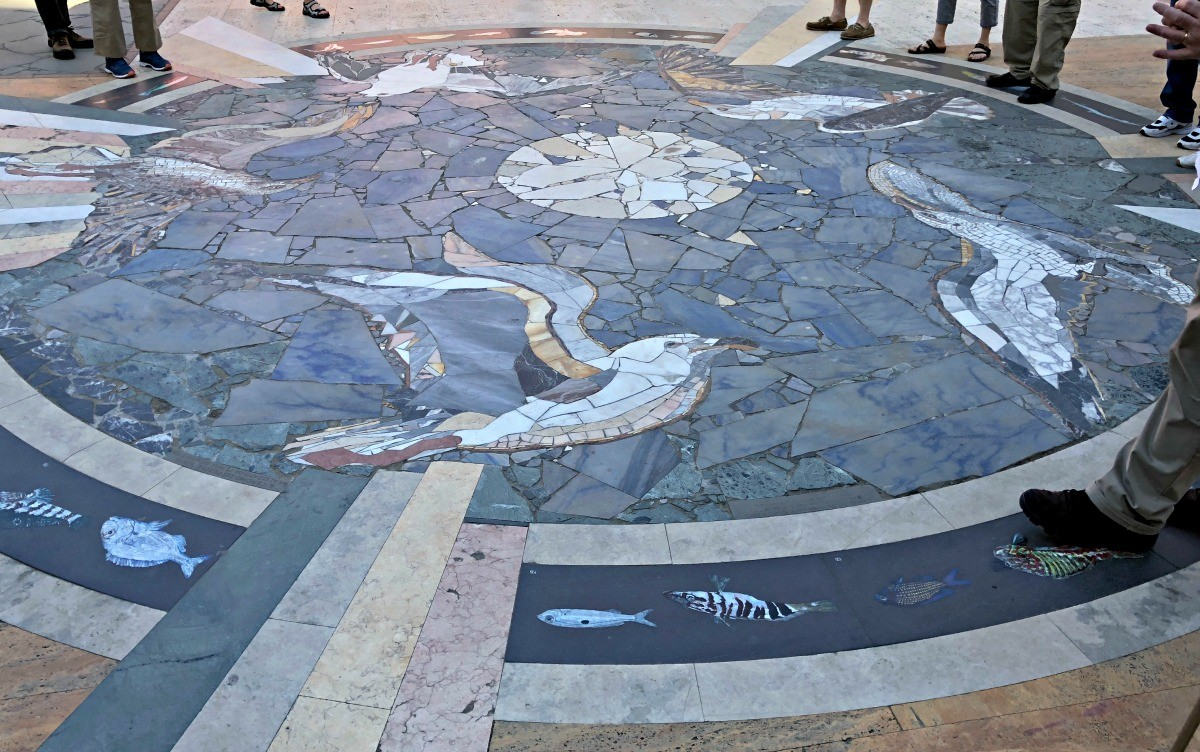 Mosaic in center of village