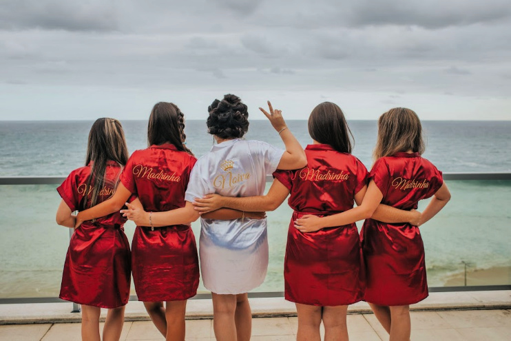 Bride-maids on Beach